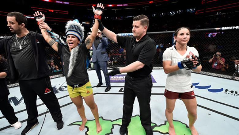 ORLANDO, FL - FEBRUARY 24:  Jessica Andrade of Brazil celebrates after her unanimous-decision victory over Tecia Torres in their women's strawweight bout during the UFC Fight Night event at Amway Center on February 24, 2018 in Orlando, Florida.  (Photo by