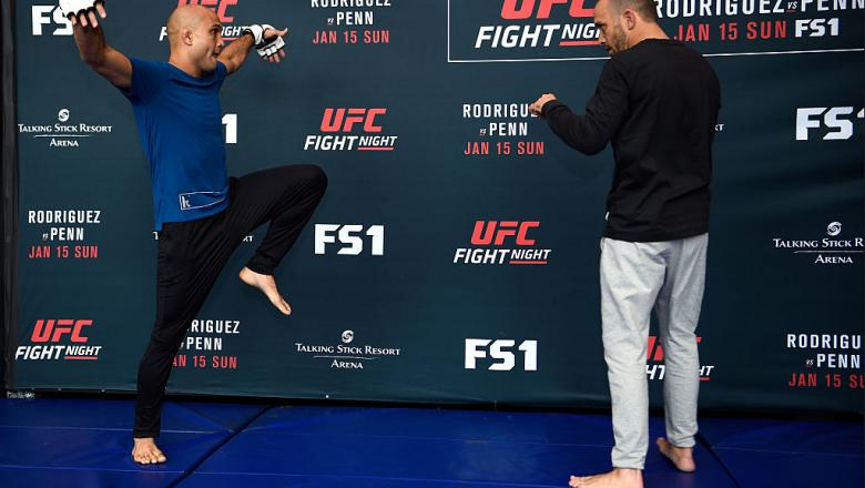 PHOENIX, ARIZONA - JANUARY 13:  BJ Penn (L) performs a workout session for media and fans during the UFC Fight Night open workouts at the Talking Stick Resort Arena on January 13, 2017 in Phoenix, Arizona. (Photo by Jeff Bottari/Zuffa LLC/Zuffa LLC via Ge