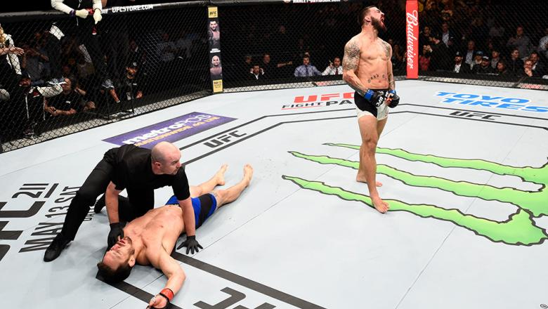 NASHVILLE, TN - APRIL 22:  Mike Perry celebrates after his knockout victory over Jake Ellenberger in their welterweight bout during the UFC Fight Night event at Bridgestone Arena on April 22, 2017 in Nashville, Tennessee. (Photo by Jeff Bottari/Zuffa LLC/