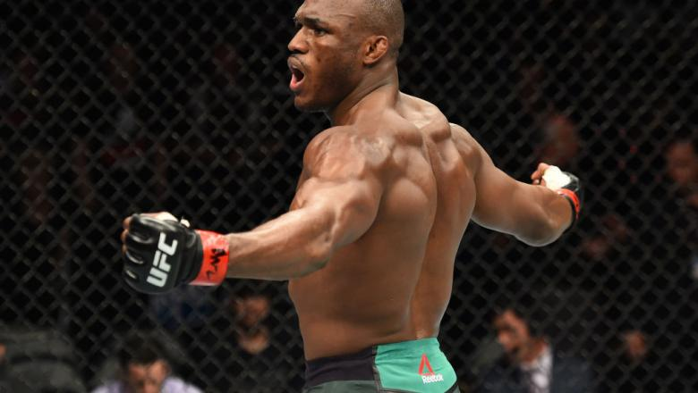 PITTSBURGH, PA - SEPTEMBER 16:  Kamaru Usman of Nigeria celebrates after knocking out Sergio Moraes of Brasil in their welterweight bout during the UFC Fight Night event inside the PPG Paints Arena on September 16, 2017 in Pittsburgh, Pennsylvania. (Photo