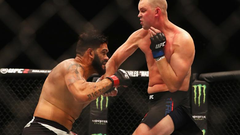 """ROTTERDAM, NETHERLANDS - MAY 08:  Stefan Struve of the Netherlands lands a blow on his way to victory over Antonio """"Bigfoot"""" Silva of Brazil in their Heavyweight bout during the UFC Fight Night 87 at Ahoy on May 8, 2016 in Rotterdam, Netherlands.  (Photo"""