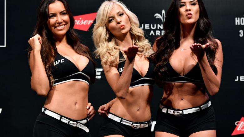 RIO DE JANEIRO, BRAZIL - JUNE 02:  (L-R) UFC Octagon Girls Luciana Andrade, Jhenny Andrade, and Camila Rodrigues de Oliveira pose for photos during the UFC 212 weigh-in at Jeunesse Arena on June 2, 2017 in Rio de Janeiro, Brazil. (Photo by Jeff Bottari/Zu