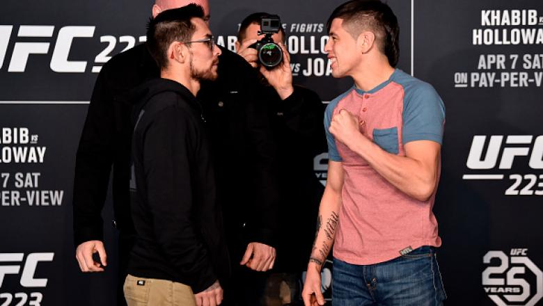 BROOKLYN, NY - APRIL 05:  (L-R) Ray Borg and Brandon Moreno of Mexico face off during the UFC 223 Ultimate Media Day inside Barclays Center on April 5, 2018 in Brooklyn, New York. (Photo by Jeff Bottari/Zuffa LLC/Zuffa LLC via Getty Images)