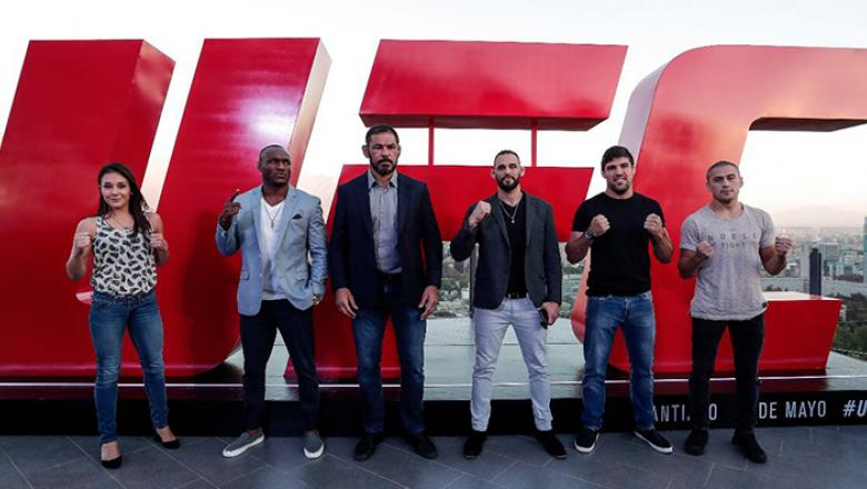 Alexa Grasso, Kamaru Usman, Minotauro Nogueira, Santiago Ponzinibbio, Vicente Luque, Diego Rivas at the UFC Chile tickets on sale media day in Santiago, Chile