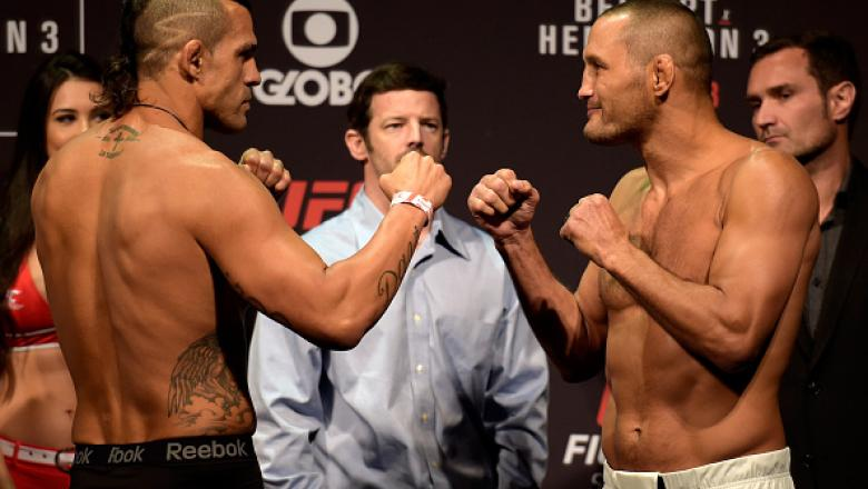 SAO PAULO, BRAZIL - NOVEMBER 06:  (L-R) Opponents Vitor Belfort of Brazil and Dan Henderson of the United States face off during the UFC Fight Night weigh-in at Ibirapuera Gymnasium on November 06, 2015 in Sao Paulo, Brazil.  (Photo by Buda Mendes/Zuffa L