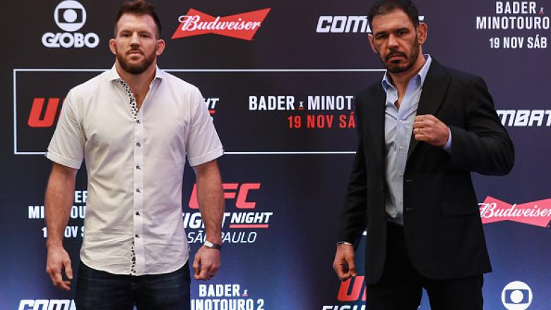 SAO PAULO, BRAZIL - NOVEMBER 17:  Light heavyweight fighters Rogerio Nogueira (R) of Brazil and Ryan Bader of the United States pose for photographers during Ultimate Media Day at Renaissance Hotel on November 17, 2016 in Sao Paulo, Brazil.  (Photo by Bud