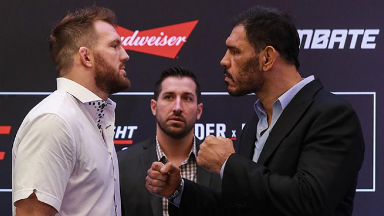 SAO PAULO, BRAZIL - NOVEMBER 17:  Light heavyweight fighters Rogerio Nogueira (R) of Brazil and Ryan Bader of the United States face off during Ultimate Media Day at Renaissance Hotel on November 17, 2016 in Sao Paulo, Brazil.  (Photo by Buda Mendes/Zuffa