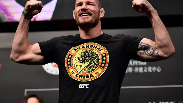 SHANGHAI, CHINA - NOVEMBER 24:  Michael Bisping of England poses on the scale during the UFC Fight Night weigh-in on November 24, 2017 in Shanghai, China. (Photo by Brandon Magnus/Zuffa LLC via Getty Images)