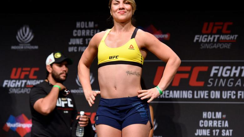 SINGAPORE - JUNE 16:  Bethe Correia of Brazil poses on the scale during the UFC Fight Night weigh-in at the Marina Bay Sands on June 16, 2017 in Singapore. (Photo by Brandon Magnus/Zuffa LLC/Zuffa LLC via Getty Images)