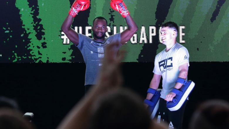 SINGAPORE - JUNE 20:  Leon Edwards (L) of Jamaica participates in the UFC Fight Night Open Workout at OCBC Square on June 20, 2018 in Singapore.  (Photo by Suhaimi Abdullah - Zuffa LLC/Zuffa LLC)