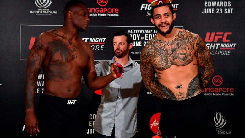 SINGAPORE - JUNE 22:  (L-R) Opponents Ovince Saint Preux of the United States and Tyson Pedro of Australia face off during the UFC Fight Night weigh-in at the Mandarin Oriental on June 22, 2018 in Singapore. (Photo by Jeff Bottari/Zuffa LLC/Zuffa LLC via