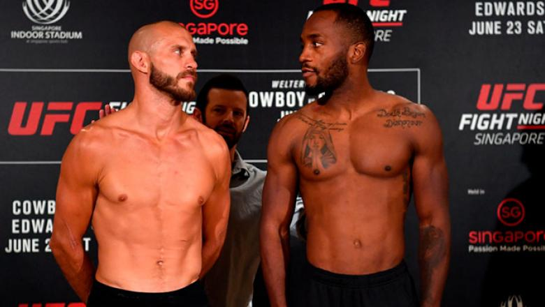 SINGAPORE - JUNE 22:  (L-R) Opponents Donald Cerrone of the United States and Leon Edwards of Jamaica pose for the media during the UFC Fight Night weigh-in at the Mandarin Oriental on June 22, 2018 in Singapore. (Photo by Jeff Bottari/Zuffa LLC/Zuffa LLC