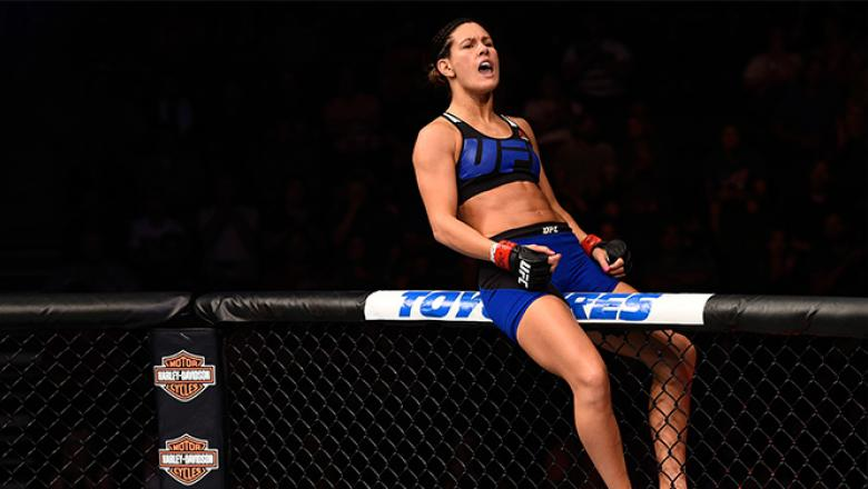 JULY 13: Courtney Casey reacts after her TKO victory over Cristina Stanciu of Romania in their women's strawweight bout during the UFC Fight Night event on July 13, 2016 at Denny Sanford Premier Center in Sioux Falls, South Dakota. (Photo by Jeff Bottari/