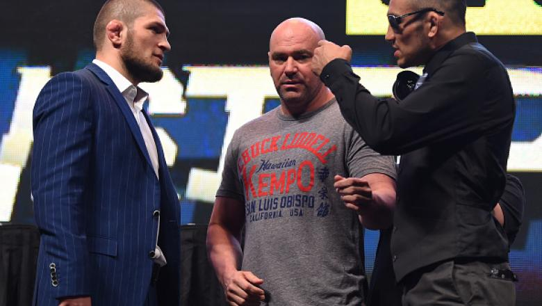 LAS VEGAS, NV - MARCH 04:  (L-R) Opponents Khabib Nurmagomedov and Tony Ferguson face off during the UFC Unstoppable launch press conference at the MGM Grand Garden Arena on March 4, 2016 in Las Vegas, Nevada. (Photo by Josh Hedges/Zuffa LLC/Zuffa LLC via