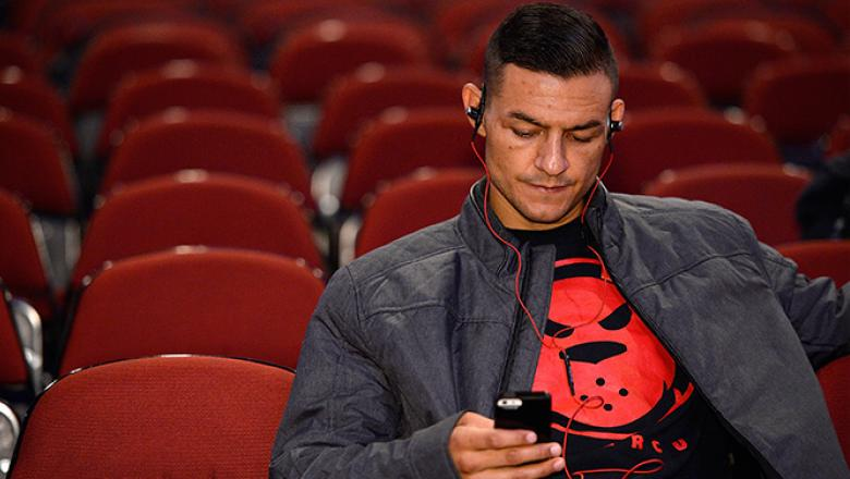 NEWARK, NJ - APRIL 17:  Cub Swanson sits backstage before the UFC Fight Night weigh-in event at the Prudential Center on April 17, 2015 in Newark, New Jersey. (Photo by Mike Roach/Zuffa LLC/Zuffa LLC via Getty Images)