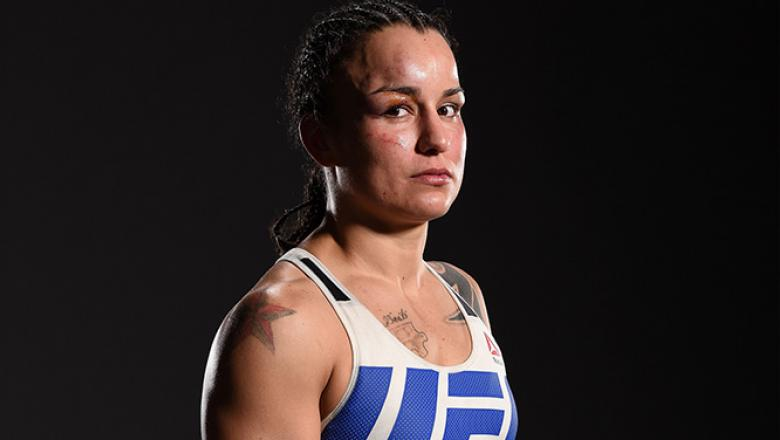 TAMPA, FL - APRIL 16:   Raquel Pennington poses for a portrait backstage during the UFC Fight Night event at Amalie Arena on April 16, 2016 in Tampa, Florida. (Photo by Mike Roach/Zuffa LLC/Zuffa LLC via Getty Images)