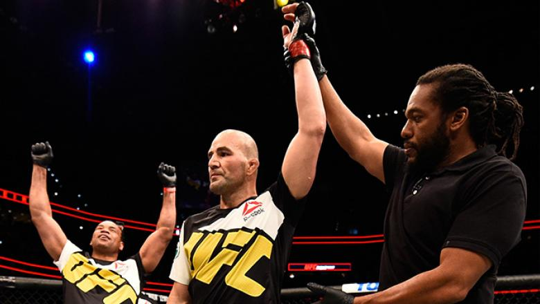 TAMPA, FL - APRIL 16:   Glover Teixeira celebrates his knockout victory over Rashad Evans in their light heavyweight bout during the UFC Fight Night event at Amalie Arena on April 16, 2016 in Tampa, Florida. (Photo by Jeff Bottari/Zuffa LLC/Zuffa LLC via