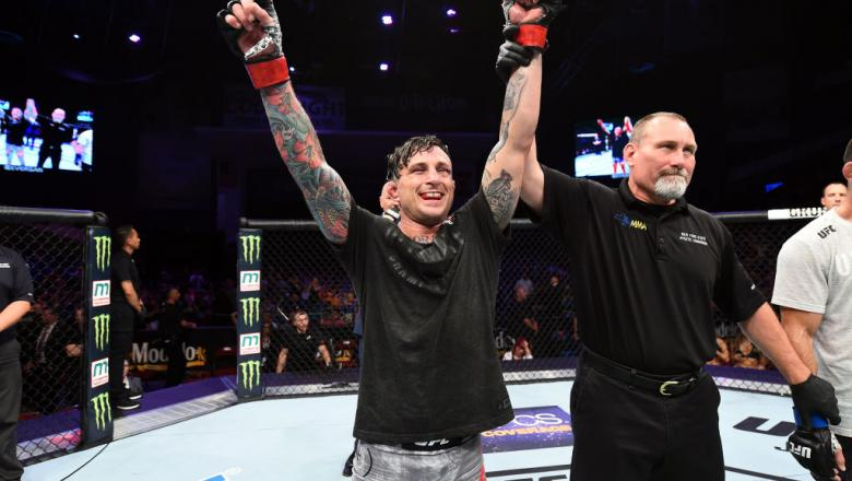 UTICA, NY - JUNE 01:  Gregor Gillespie celebrates after defeating Vinc Pichel in their lightweight fight during the UFC Fight Night event at the Adirondack Bank Center on June 1, 2018 in Utica, New York. (Photo by Josh Hedges/Zuffa LLC/Zuffa LLC via Getty