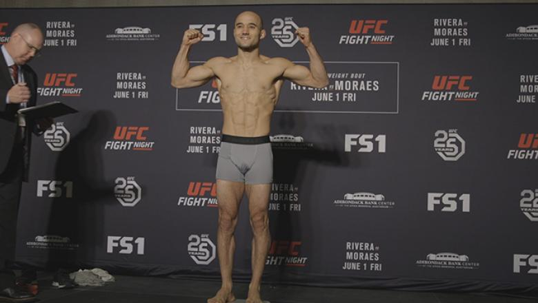 Marlon Moraes weighs-in before UFC Fight Night Utica.