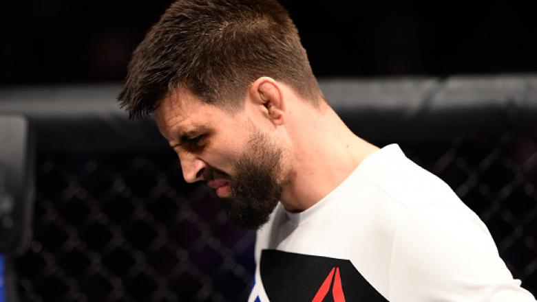 VANCOUVER, BC - AUGUST 27:  Carlos Condit of the United States reacts to his submission loss to Demian Maia of Brazil in their welterweight bout during the UFC Fight Night event at Rogers Arena on August 27, 2016 in Vancouver, British Columbia, Canada. (P