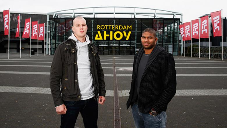 ROTTERDAM, NETHERLANDS - MARCH 22:  Alistair Overeem (R) and Stefan Struve both of the Netherlands pose during the UFC photo call at Ahoy on March 22, 2016 in Rotterdam, Netherlands.  UFC Fight Night 87 takes place May 8 at Ahoy Rotterdam.  (Photo by Dean