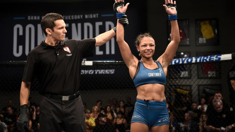 LAS VEGAS, NV - AUGUST 15:   Jamie Colleen victorious in women's strawweight bout during Dana White's Tuesday Night Contender Series at the TUF Gym on August 15, 2017 in Las Vegas, Nevada. (Photo by Brandon Magnus/DWTNCS)