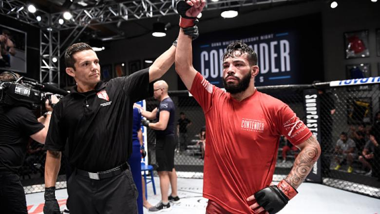 LAS VEGAS, NV - JULY 25:   Dan Ige celebrates his submission victory in his featherweight bout with Luis Gomez during Dana White's Tuesday Night Contender Series at the TUF Gym on July 25, 2017 in Las Vegas, Nevada. (Photo by Brandon Magnus/DWTNCS)
