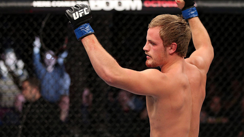 NOTTINGHAM, ENGLAND - SEPTEMBER 29:  Gunnar Nelson reacts after defeating DaMarques Johnson during their catchweight fight at the UFC on Fuel TV event at Capital FM Arena on September 29, 2012 in Nottingham, England.  (Photo by Josh Hedges/Zuffa LLC/Zuffa