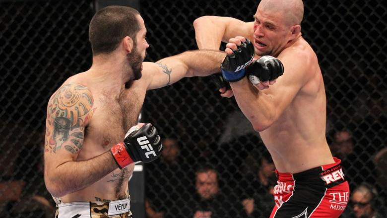 LAS VEGAS, NV - FEBRUARY 04:  Matt Brown (left) punches Chris Cope during the UFC 143 event at Mandalay Bay Events Center on February 4, 2012 in Las Vegas, Nevada.  (Photo by Nick Laham/Zuffa LLC/Zuffa LLC via Getty Images) *** Local Caption *** Matt Brow