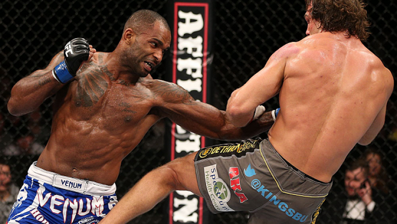 NOTTINGHAM, ENGLAND - SEPTEMBER 29:  (L-R) Jimi Manuwa punches Kyle Kingsbury during their light heavyweight fight at the UFC on Fuel TV event at Capital FM Arena on September 29, 2012 in Nottingham, England.  (Photo by Josh Hedges/Zuffa LLC/Zuffa LLC via