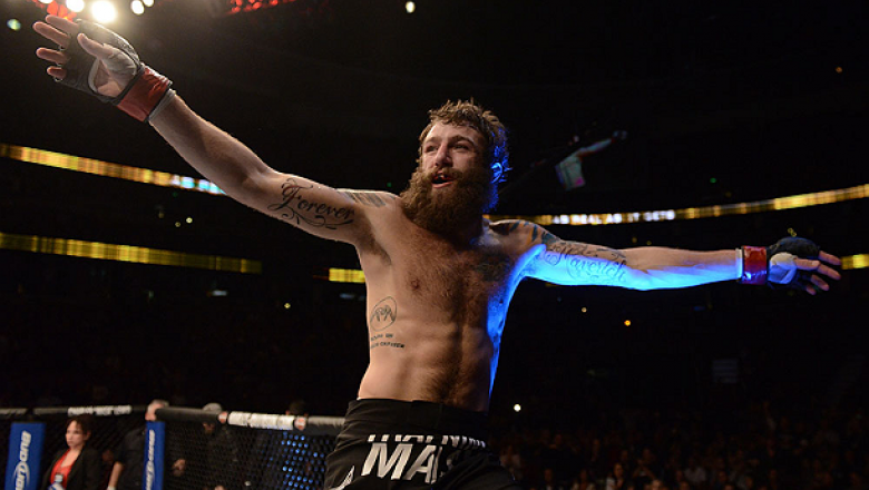ANAHEIM, CA - FEBRUARY 23:  Michael Chiesa reacts to his victory over Anton Kuivanen in their lightweight bout during UFC 157 at Honda Center on February 23, 2013 in Anaheim, California.  (Photo by Donald Miralle/Zuffa LLC/Zuffa LLC via Getty Images) ***