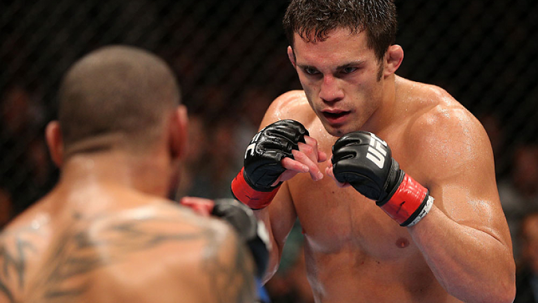 MINNEAPOLIS, MN - OCTOBER 05:  (R-L) Jake Ellenberger squares off with Jay Hieron during their welterweight fight at the UFC on FX event at Target Center on October 5, 2012 in Minneapolis, Minnesota.  (Photo by Josh Hedges/Zuffa LLC/Zuffa LLC via Getty Im