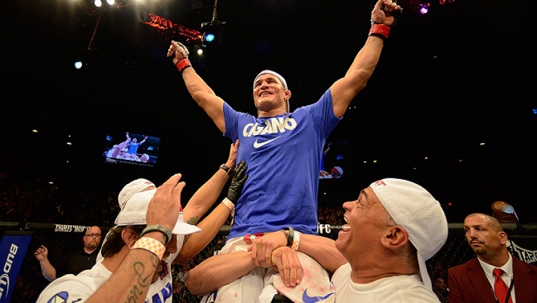 LAS VEGAS, NV - MAY 25:   Junior dos Santos reacts to his victory over Mark Hunt in their heavyweight bout during UFC 160 at the MGM Grand Garden Arena on May 25, 2013 in Las Vegas, Nevada.  (Photo by Donald Miralle/Zuffa LLC/Zuffa LLC via Getty Images)
