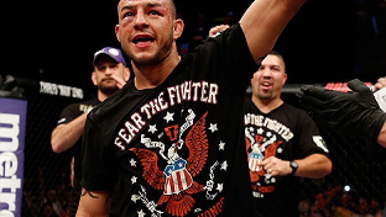 LONDON, ENGLAND - FEBRUARY 16:  Cub Swanson reacts after defeating Dustin Poirier in their featherweight fight during the UFC on Fuel TV event on February 16, 2013 at Wembley Arena in London, England.  (Photo by Josh Hedges/Zuffa LLC/Zuffa LLC via Getty I