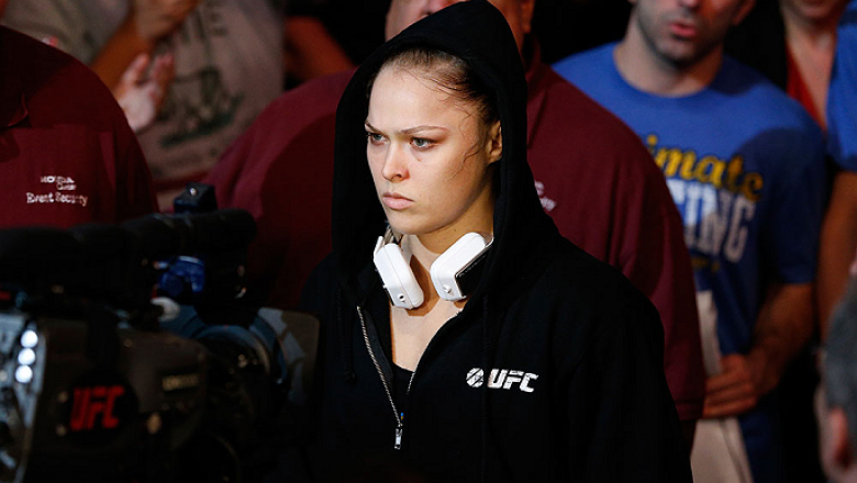 ANAHEIM, CA - FEBRUARY 23:  Ronda Rousey walks to the Octagon to face Liz Carmouche in their women's bantamweight title fight during UFC 157 at Honda Center on February 23, 2013 in Anaheim, California.  (Photo by Josh Hedges/Zuffa LLC/Zuffa LLC via Getty