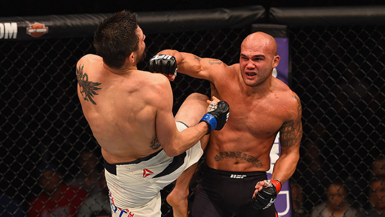 LAS VEGAS, NV - JANUARY 02: (R-L) Robbie Lawler punches Carlos Condit in their UFC welterweight championship bout during the UFC 195 event inside MGM Grand Garden Arena on January 2, 2016 in Las Vegas, Nevada.  (Photo by Josh Hedges/Zuffa LLC/Zuffa LLC vi
