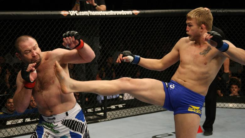 LAS VEGAS, NV - DECEMBER 30:  Alexander Gustafsson (right) kicks Vladimir Matyushenko (left) during the UFC 141 event at the MGM Grand Garden Arena on December 30, 2011 in Las Vegas, Nevada.  (Photo by Donald Miralle/Zuffa LLC/Zuffa LLC via Getty Images)