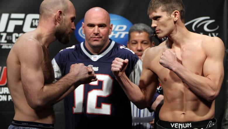 LAS VEGAS, NV - FEBRUARY 03:  (L-R) Opponents Dan Stittgen and Stephen Thompson face off after weighing in during the UFC 143 official weigh in at Mandalay Bay Events Center on February 3, 2012 in Las Vegas, Nevada.|2:55:8  (Photo by Josh Hedges/Zuffa LLC
