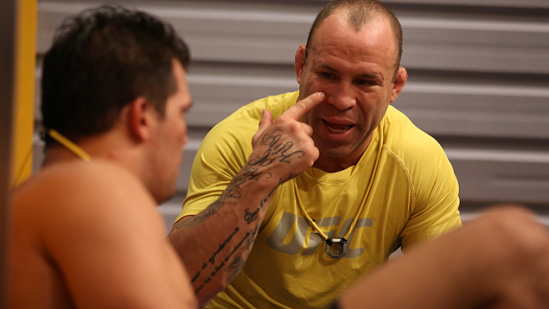 SAO PAULO, BRAZIL - FEBRUARY 8:  Coach Wanderlei Silva speaks with Team Wanderlei fighter Jollyson Francino after being defeated by Team Sonnen fighter Marcos Rogerio in their heavyweight fight during season three of The Ultimate Fighter Brazil on Februar