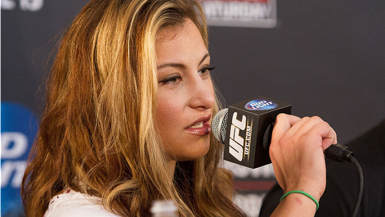ORLANDO, FL - APRIL 17:  Miesha Tate interacts with media during the FOX UFC Saturday pre-fight press conference at Shaquille O'Neal's estate on April 17, 2014 in Orlando, Florida. (Photo by Mike Roach/Zuffa LLC/Zuffa LLC via Getty Images)