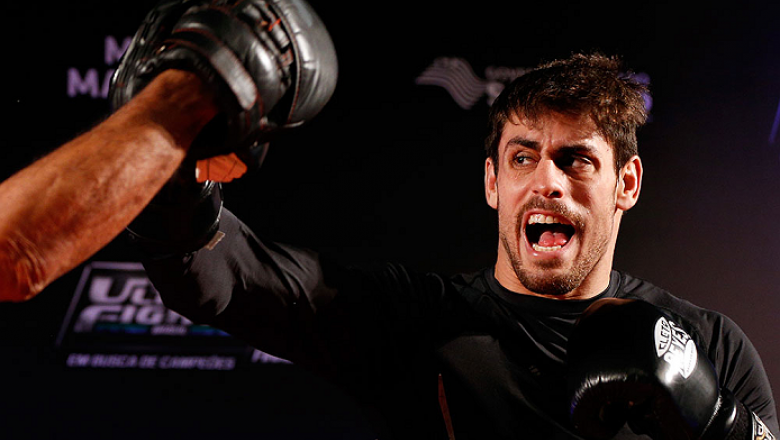 SAO PAULO, BRAZIL - MAY 29:  Antonio Carlos Junior holds an open training session for media at the Renaissance Hotel on May 29, 2014 in Sao Paulo, Brazil. (Photo by Josh Hedges/Zuffa LLC/Zuffa LLC via Getty Images)