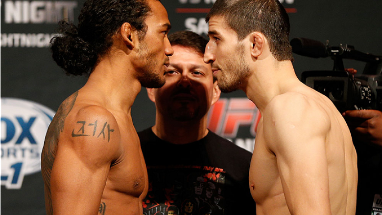 ALBUQUERQUE, NM - JUNE 06:  (L-R) Opponents Benson Henderson and Rustam Khabilov face off during the UFC Fight Night weigh-in at Tingley Coliseum on June 6, 2014 in Albuquerque, New Mexico.  (Photo by Josh Hedges/Zuffa LLC/Zuffa LLC via Getty Images)