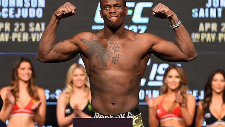 LAS VEGAS, NV - APRIL 20:   Ovince Saint Preux steps on the scale during the UFC 197 weigh-in at the MGM Grand Garden Arena on April 20, 2016 in Las Vegas, Nevada. (Photo by Josh Hedges/Zuffa LLC/Zuffa LLC via Getty Images)