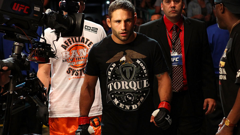 MILWAUKEE, WI - AUGUST 31:  Chad Mendes enters the arena prior to his UFC featherweight bout against Clay Guida at BMO Harris Bradley Center on August 31, 2013 in Milwaukee, Wisconsin. (Photo by Ed Mulholland/Zuffa LLC/Zuffa LLC via Getty Images) *** Loca