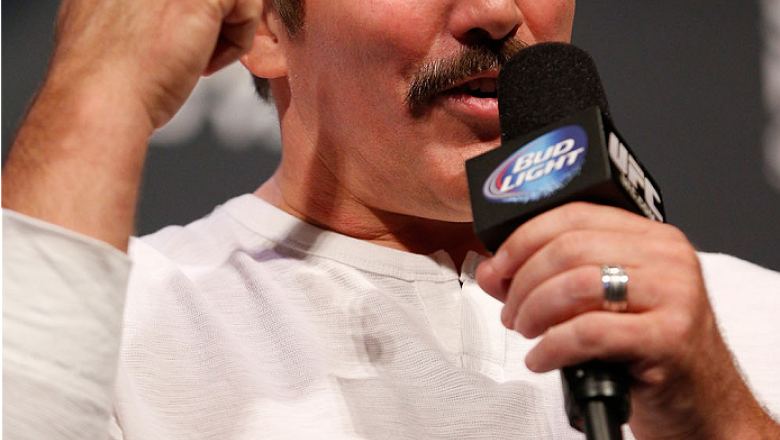 LAS VEGAS, NV - NOVEMBER 15:  UFC legend Dan Severn interacts with fans during a Q&A session before the UFC 167 weigh-in inside the MGM Grand Garden Arena on November 15, 2013 in Las Vegas, Nevada. (Photo by Josh Hedges/Zuffa LLC/Zuffa LLC via Getty Image