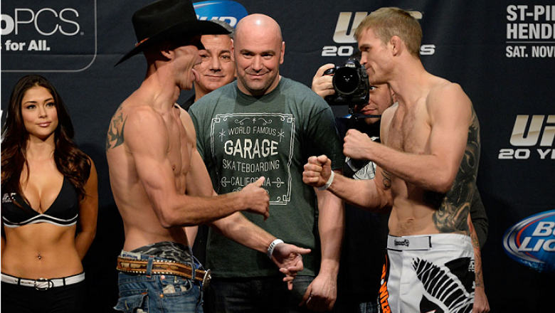 LAS VEGAS, NEVADA - NOVEMBER 15:  (L-R) Donald Cerrone faces off against Evan Dunham during the UFC 167 weigh-in event at the MGM Grand Garden Arena on November 15, 2013 in Las Vegas, Nevada. (Photo by Jeff Bottari/Zuffa LLC/Zuffa LLC via Getty Images)