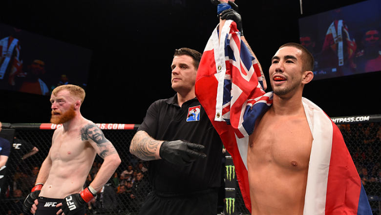 DUBLIN, IRELAND - OCTOBER 24:  (R-L) Louis Smolka celebrates his submission victory over Paddy Holohan in their flyweight fight during the UFC event at 3Arena on October 24, 2015 in Dublin, Ireland. (Photo by Josh Hedges/Zuffa LLC/Zuffa LLC via Getty Imag