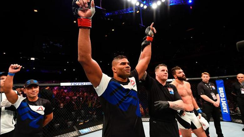 ROTTERDAM, NETHERLANDS - MAY 08:  (L-R) Alistair Overeem celebrates his victory over Andrei Arlovski in their heavyweight bout during the UFC Fight Night event at Ahoy Rotterdam on May 8, 2016 in Rotterdam, Netherlands. (Photo by Josh Hedges/Zuffa LLC/Zuf