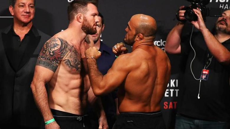 HAMBURG, GERMANY - SEPTEMBER 02:  Ilir Latifi of Sweden and Ryan Bader of the USA come face to face during the UFC Fight Night Weigh-in held at Barclaycard Arena on September 2, 2016 in Hamburg, Germany.  Andrei 'The Pit Bull' Arlovski and Josh 'The Warma