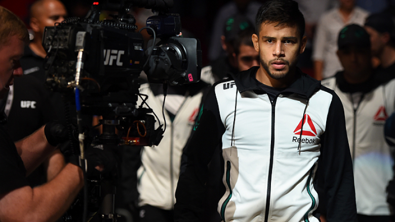 HOUSTON, TX - OCTOBER 03:  Yair Rodriguez prepares to enter the Octagon before facing Dan Hooker in their featherweight bout during the UFC 192 event at the Toyota Center on October 3, 2015 in Houston, Texas. (Photo by Josh Hedges/Zuffa LLC/Zuffa LLC via